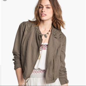 Free People Olive Green Linen Moto Jacket